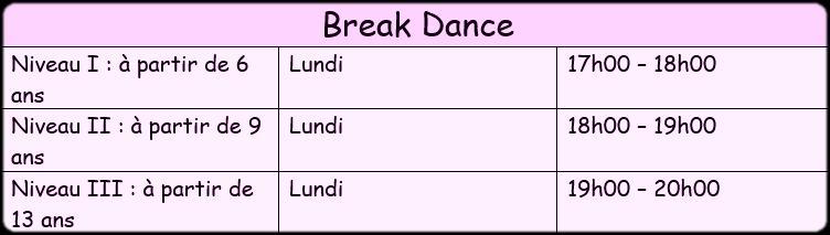 Horaire break 3