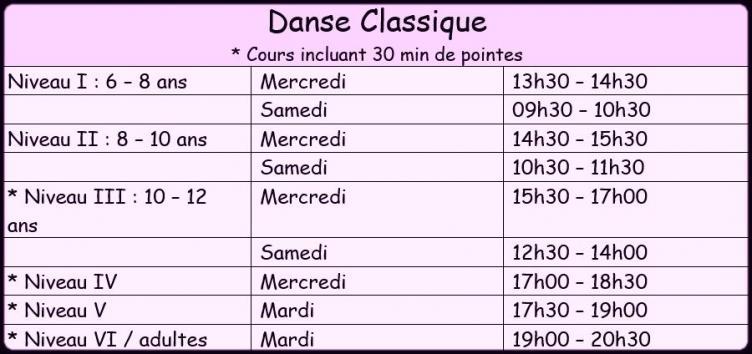 Horaire danse classique 1